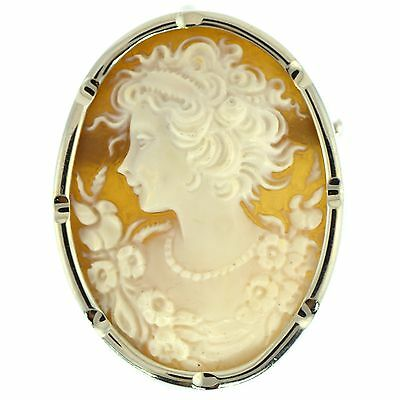 Fine Cameo Brooch & Pendant 18K White Gold Estate Natural Shell 2 Inch Long