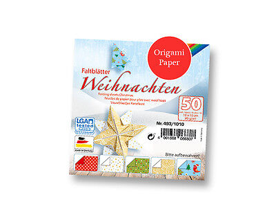 50 Sheets Square Christmas Print Origami Paper - 10cm