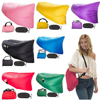 New Inflatable Lounger Air Filled Beach Sleep Compression Sofa Bags Mattresses