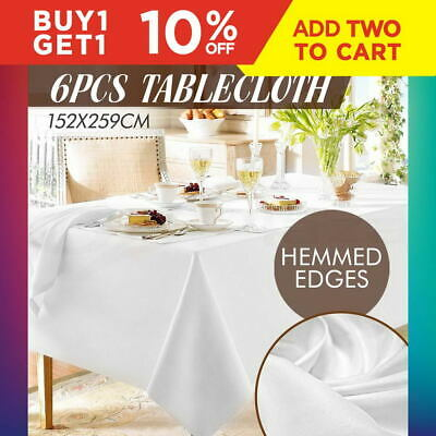 6X Tablecloth Wedding Table Cloth Rectangle Party Banquet Trestle 244 White