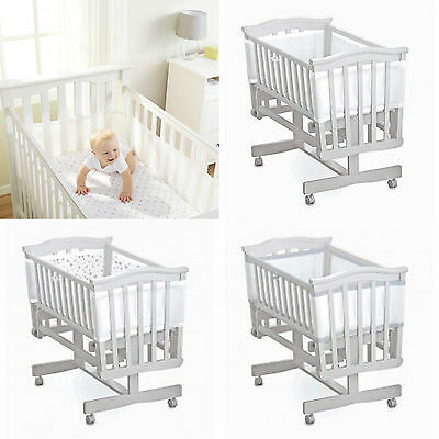 Breathable Baby Mesh Liner Bumper Crib 4 Sided Airflow Twinkle White Silver