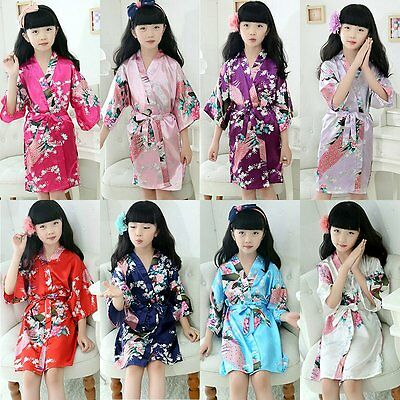 Kids Baby Girl Floral Bath Robe Sleepwear Homewear Pajamas Nightwear Night Dress