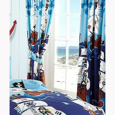 "SWASHBUCKLE PIRATES 66"" x 72"" LINED CURTAINS NEW BEDROOM"