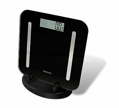 Salter Digital Bathroom Scale StowAWeigh Compact Analyser Body Fat Scale - Black
