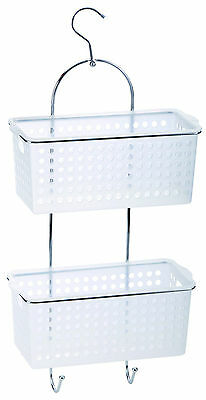 2 Tier Hanging Shower Bath Tidy Storage Rack Caddy With 2 Wide Plastic Baskets