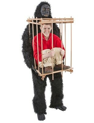 Adult Gorilla & Cage Funny Halloween Party Outfit Jungle Fancy Dress Costume