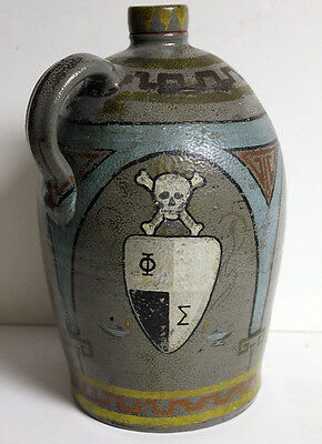 Folk Art Frat Whiskey Moonshine Jug Pottery Painted Skull Antique Crock Unique