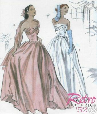 OOP Retro 1952 Debutante evening gown dress PATTERN 4918 toSEW sz 6 8 10 12 Prom