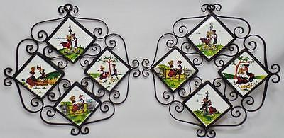Pair 2 Mid Century Modern Hand Painted Tiles Signed Wrought Iron Frame Plaque