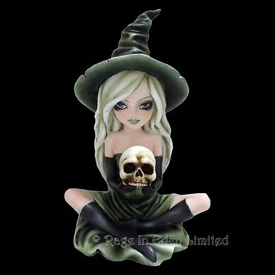 *ZELDA* Gothic Witch Skull Art Hand Painted Resin Figurine By Nemesis Now