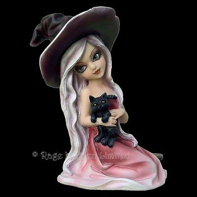 *ROSA* Gothic Witch Black Cat Art Hand Painted Resin Figurine By Nemesis Now