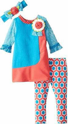 "NEW Rare Editions Girls ""CORAL & AQUA LACE FLOWER"" Size 6X Top & Leggings NWT"