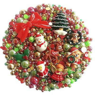 CHRISTMAS Mix Pack Flatback Cabochons & Pearl Diamantes Embellishment Decoden