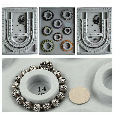 Vintage Craft Flocked Cloth Bracelet Necklace Beads Board Tray DIY Jewelry Tools