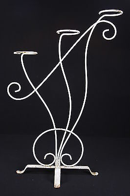 "Shabby Chic Style White Cast Metal Plant Stand Curvy 3-Tier Art Nouveau 36"" Tall"