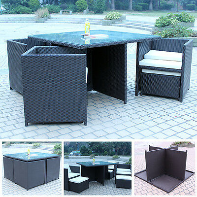 8 Seater 9 Piece Rattan Cube Glass Table with Chair Set Garden Furniture Durable