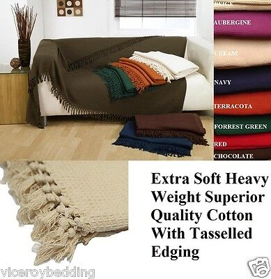 LARGE SIZE 100% Cotton Woven Sofa Bed Throw Blanket Bedspread Settee Cover