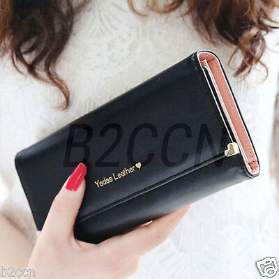 Fashion Ladies Long Wallet Leather Clutch Coin Purse Bifold Card Holder Handbag