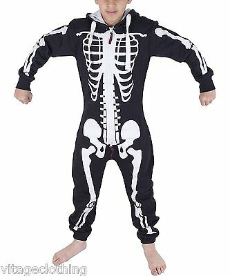 Kids Unisex Girls Boys Halloween One Piece Costume Skeleton Jumpsuit 7-13 Years