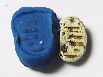Zurqieh -Af518- Ancient Egypt , New Kingdom Stone Scarab. 1400 B.c