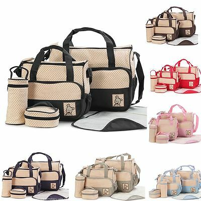 5 Pieces Large Baby Mummy Waterproof Nappy Changing Bags With Changing Mat