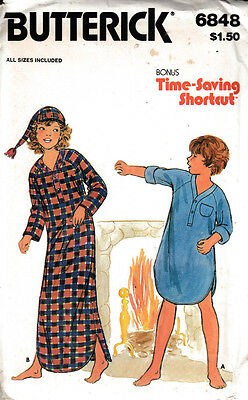 Butterick Sewing Pattern #6848 Girls Boys Nightshirt & Cap Size S-M-L