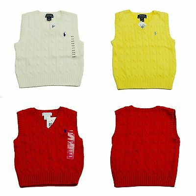 NWT New Polo Ralph Lauren Baby Toddler Boys Pony V-Neck Sweater Cable Vest