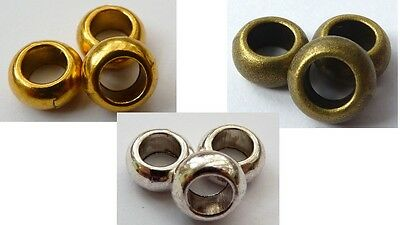 11(mm) TIBETAN LARGE HOLE ROUND RONDELLE DONUT SPACER BEADS - HOLE:5.5MM (10PCS)