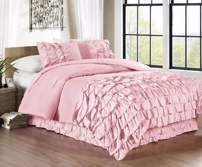 Chezmoi Collection 3-Piece Ella Waterfall Ruffle Duvet Cover Set Full, Pink