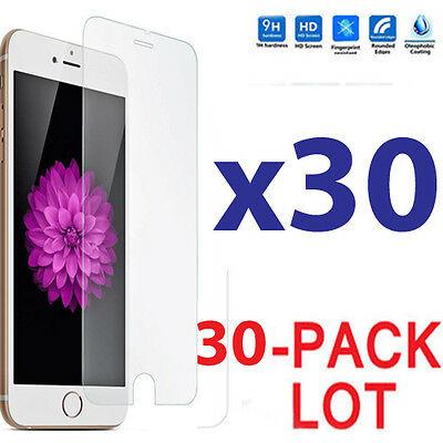 30x Wholesale Lot Tempered Glass Screen Protector for Apple iPhone 7 Plus