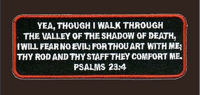 Psalms 23-4 White RED Christian GOD TACTICAL MORALE HOOK PATCH BY MILTACUSA