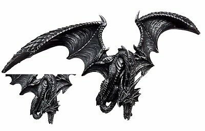 Medieval Gothic Smaug Dragon In Aerial Attack Wall Mount Sculpture Plaque Decor