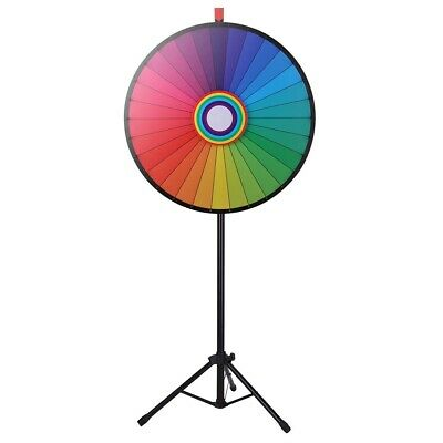 """WinSpin™ 30"""" Rainbow Prize Wheel 30 Slot Floor Stand Tripod Spin Game Tradeshow"""