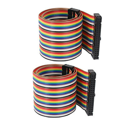 50cm 40 Pin 40 Way F/F Connector IDC Flat Rainbow Color Ribbon Cable 2pcs