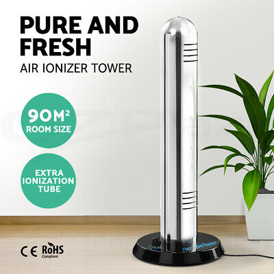 Plasma Air Purifier Ionizer Tower Stainless Steel Freshener Cleaner Ionic Smoke