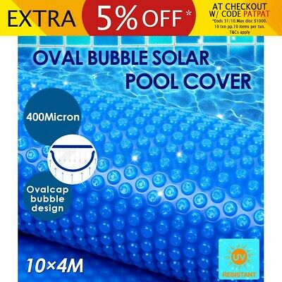 400 Micron Solar Swimming Pool Cover Oval Bubble Blanket Blue 10M x 4M Outdoor