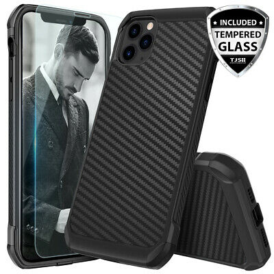 For iPhone 11/Pro/Max/XS Max/XR/X/8/7/Plus Carbon Fiber Hard Case+Tempered Glass