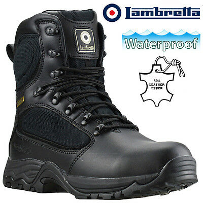 Mens Lambretta Leather Waterproof Military Police Safety Steel Toe Work Boots