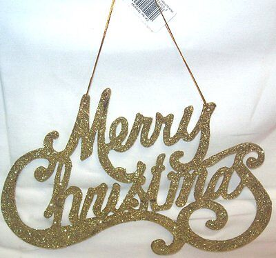 Premier Decorative Glitter Merry Christmas Hanging Welcome Sign 25cm - GOLD