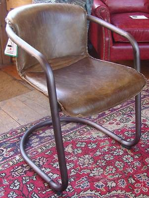 Brown Leather Dining Chair - Industrial Style Metal Frame - Distressed Leather