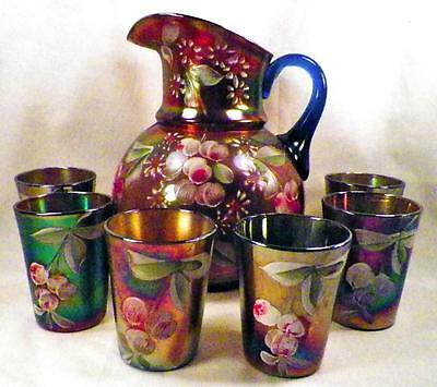 Fenton Cherry Blossoms Water Set Blue Carnival Glass Pitcher 6 Tumblers Antique