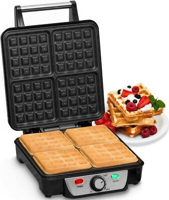 Andrew James 4 Slice Waffle Maker Iron Machine In Stainless Steel 1100 Watts