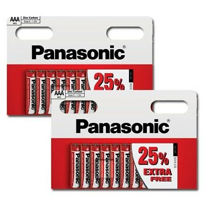 PACK OF 20 x PANASONIC 1.5V AAA SIZE ZINC CARBON BATTERIES EXPIRY DATE 02/2019