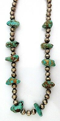 Antique Old Pawn Navajo Silver and Turquoise Necklace STERLING Basalt TQ *TB251