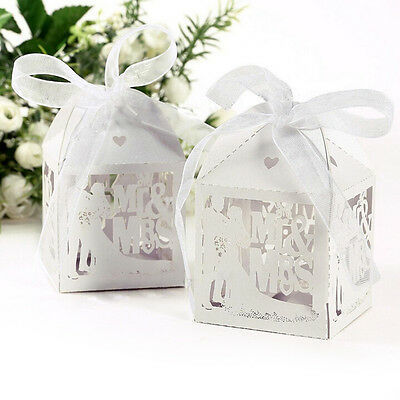 10/50/100pcs Mr&Mrs Married Wedding Favor Box Gift Boxes Candy Paper Party BoxLA