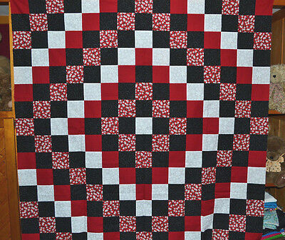 SNOWMEN in RED & BLACK Quilt Top   52 X 52 inches