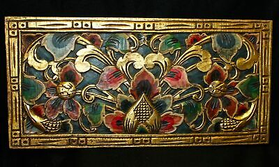 Balinese Carved Wood Lotus Wall Art Panel architectural Relief Bali Teal