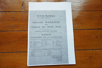 1965 Fascimilie Engine Workings Southern Region South Western Div Pass Freight