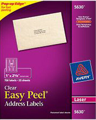 """Avery 5630 Clear Laser Address Labels 1"""" X 2 5/8"""""""
