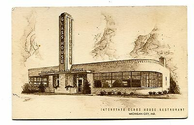 Vintage Postcard INTERSTATE GLASS HOUSE RESTAURANT Michigan City IN